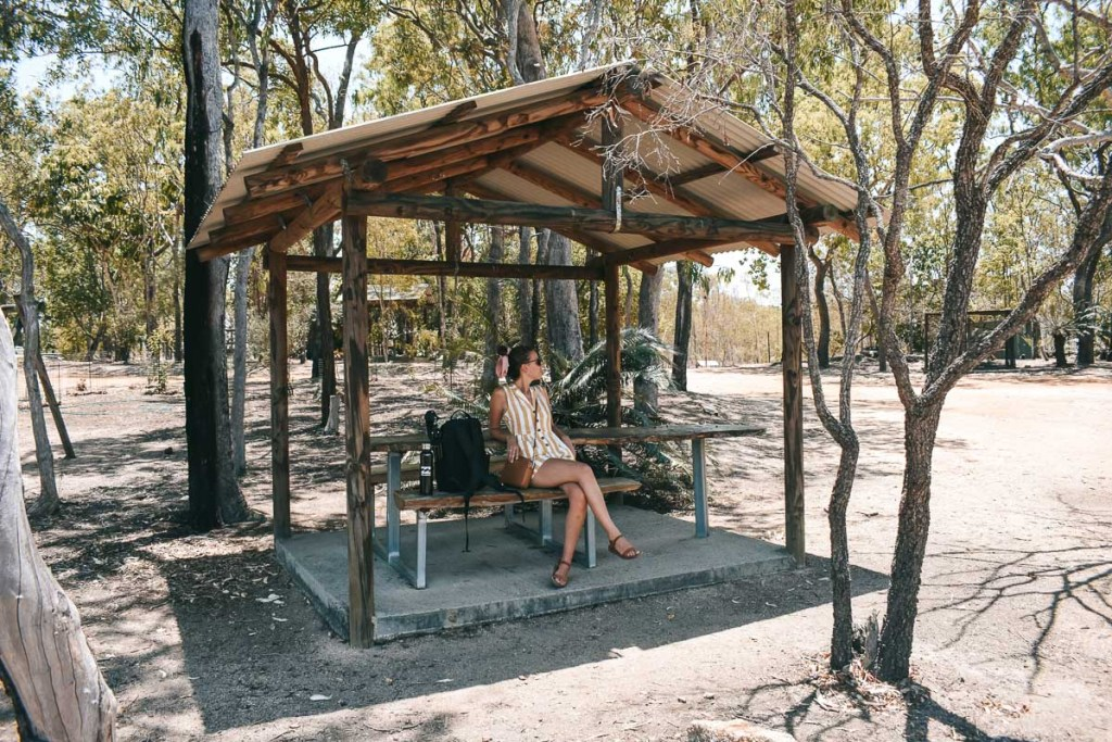 Kerrie resting in the shaded shelter for a break