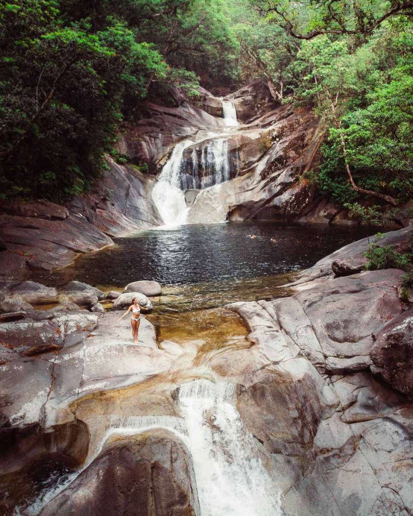 Jumping into the Josephine falls