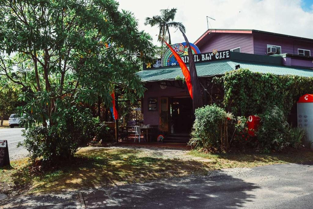 Outside Bingil Bay Cafe in mission beach