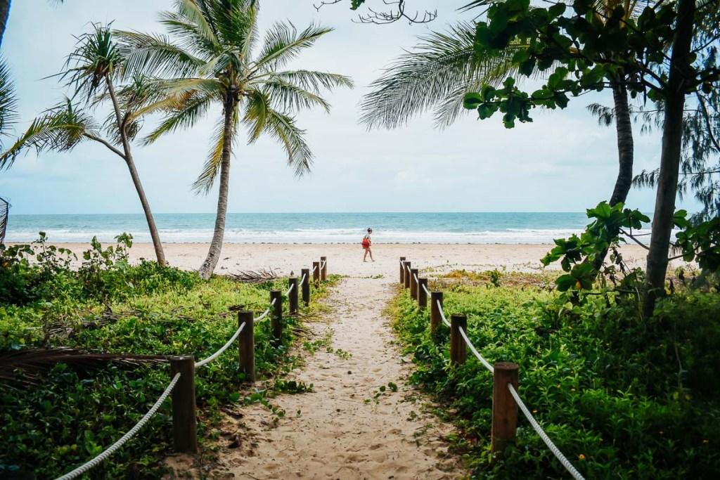 girl walking on mission beach