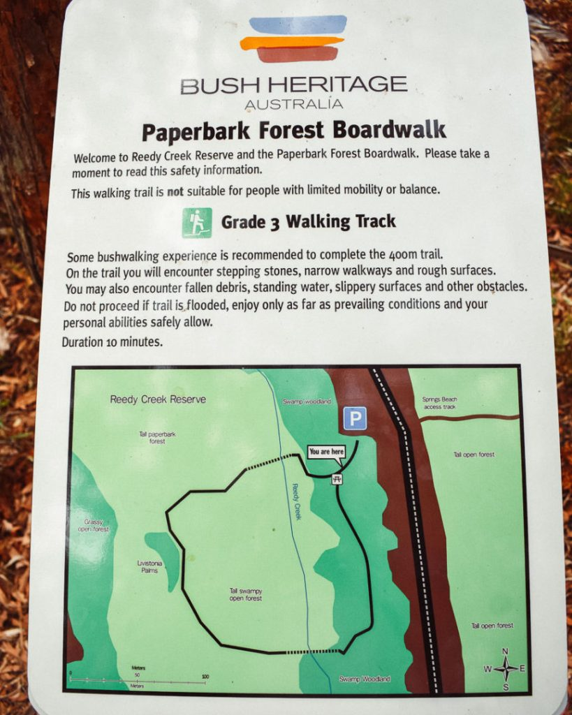 Reedy Creek Reserve – Paperbark Forest Boardwalk Map