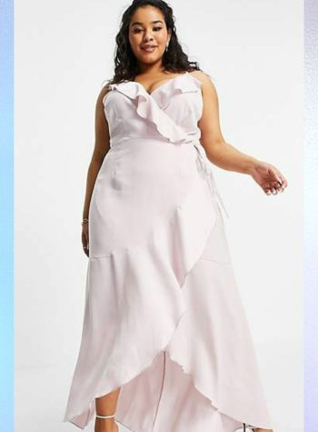 plus size satin ruffle midaxi dress