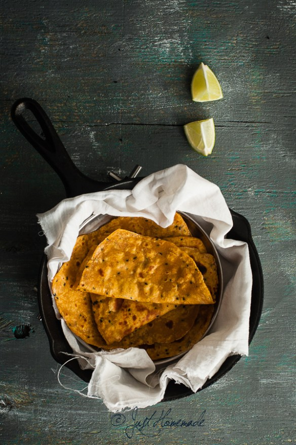 Roasted Butternut squash parathas