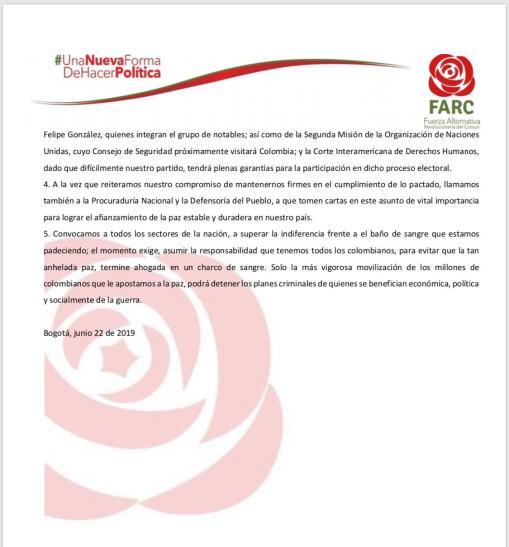Declaración FARC