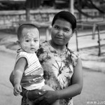 Cambodian woman with her son