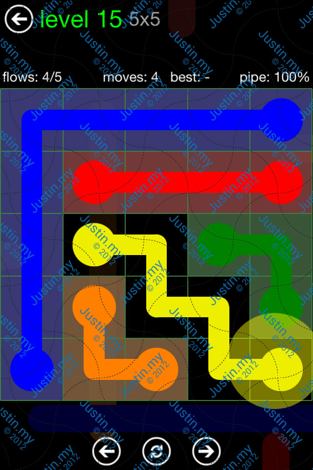 Flow Game Green Pack 5x5 Level 15