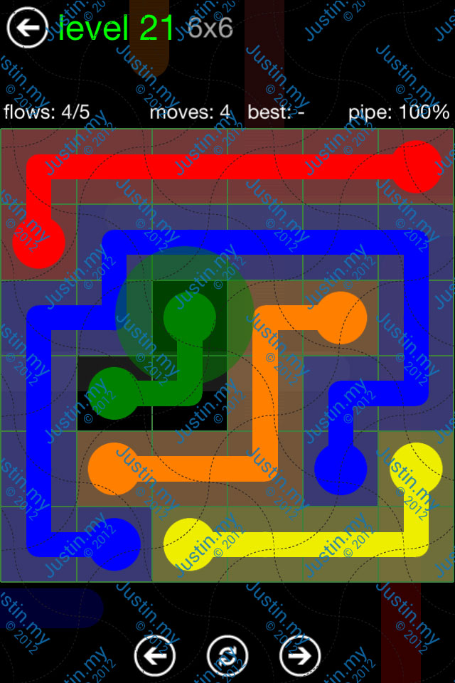 Flow Game Green Pack 6x6 Level 21