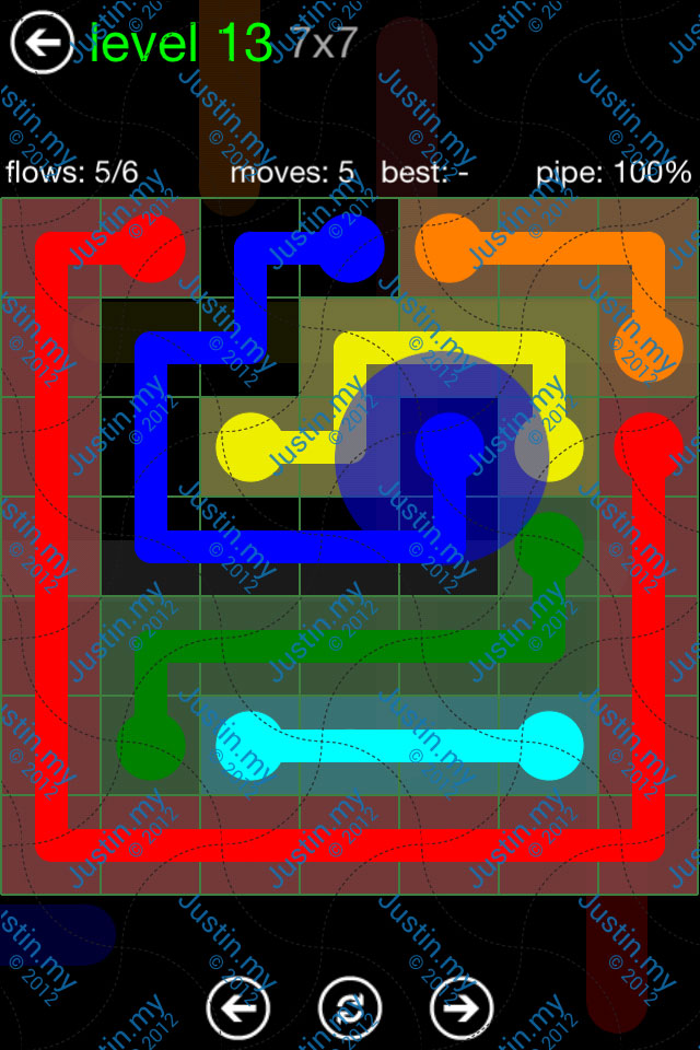 Flow Game Green Pack 7x7 Level 13