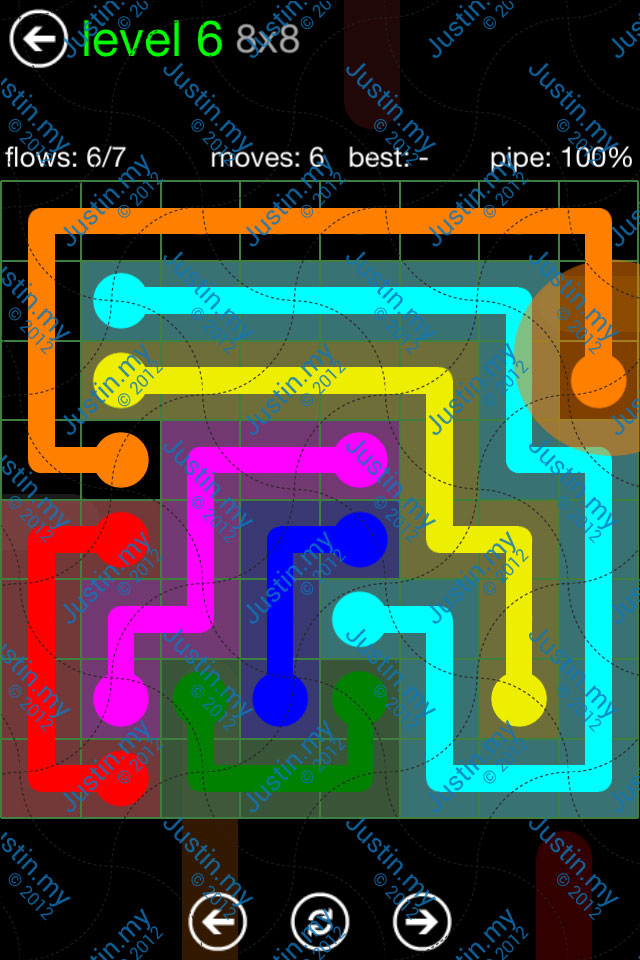 Flow Game Green Pack 8x8 Level 06