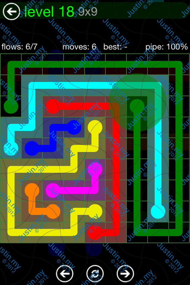 Flow Game Green Pack 9x9 Level 18