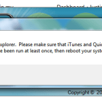 Unable to start iExplorer. Please Make sure that iTunes and QuickTime are installed