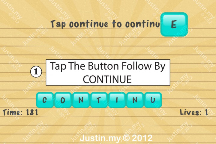 Impssible Test 2 - Tap continue to continue