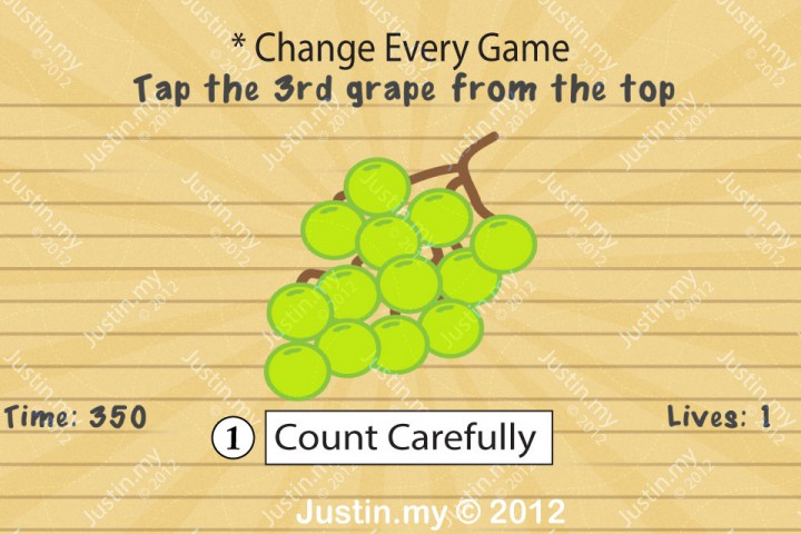 Impssible Test 2 - Tap the 3rd grape from the top