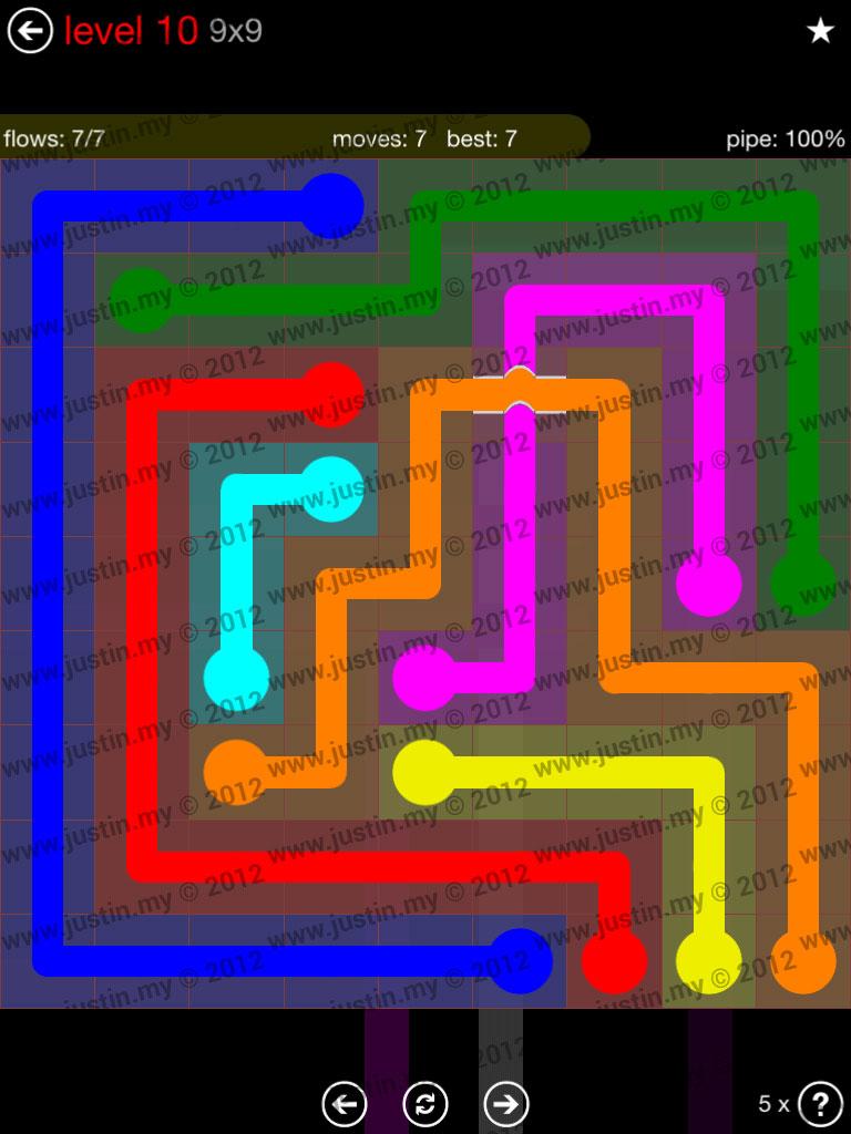 Flow Bridges 9x9 Level 10