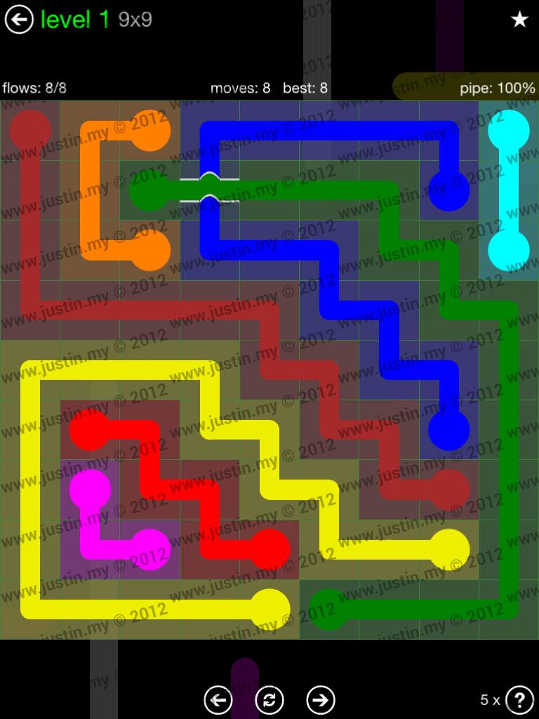 Flow Bridges 9x9 Level 1