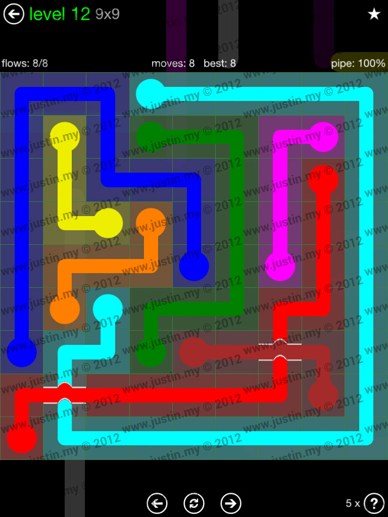 Flow Bridges 9x9 Level 12