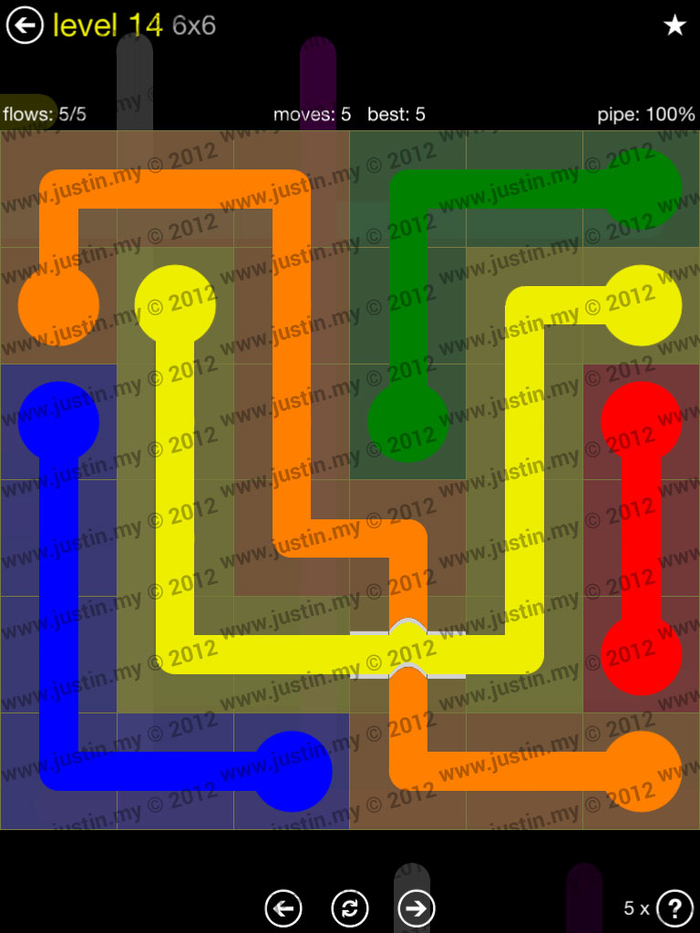 Flow Bridges 6x6 Level 14