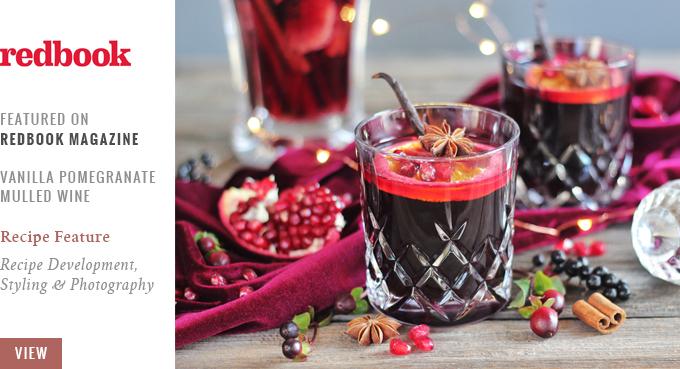 Vanilla Pomegranate Mulled Wine featured on Redbook Magazine // JustineCelina.com