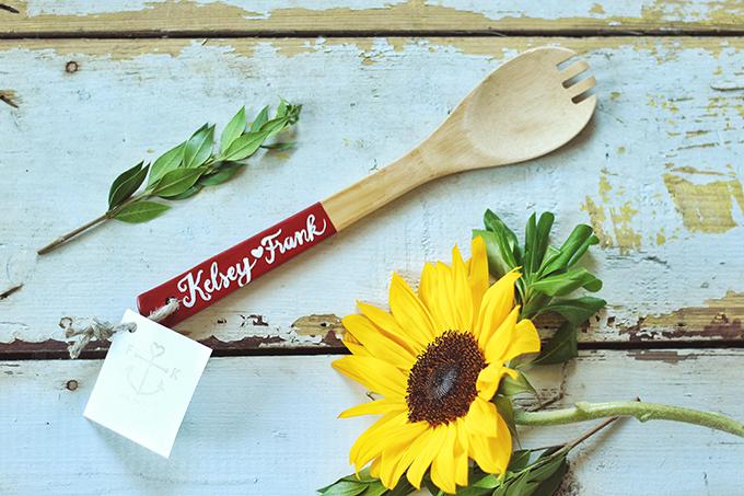 DIY Wooden Utensil Favour // JustineCelina.com