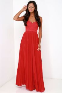 Bariano Come Quick Cupid Red Strapless Lace Maxi Dress Lulus.com