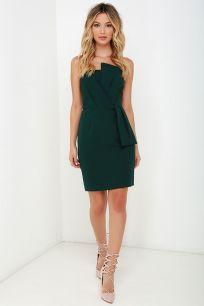 Sweet and Sassy Dark Green Strapless Dress