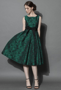 Grace Reverie Floral Dress in Evergreen
