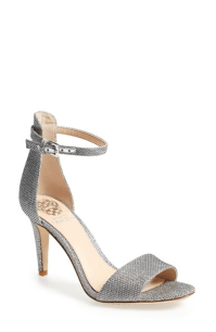 Vince Camuto 'Court' Ankle Strap Sandal in Silver Glitter