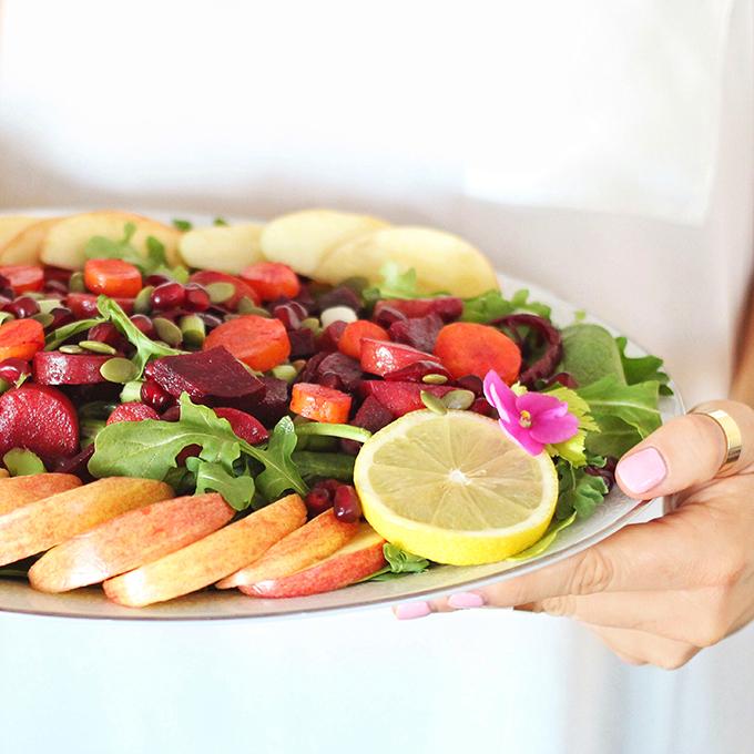 New Year Detox Salad with Pink Tahini Dressing // JustineCelina.com