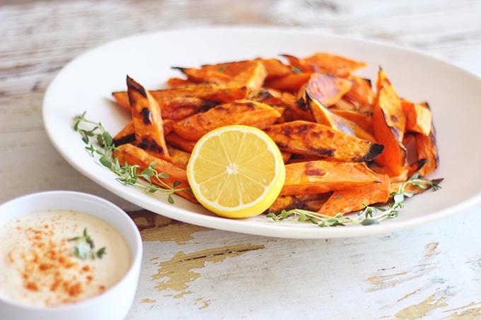 Roasted Sweet Potato Fries with Lemon Tahini Sauce // JustineCelina.com