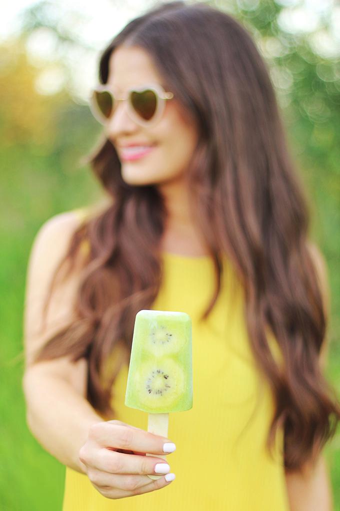 Golden Kiwi Piña Colada Popsicles // JustineCelina.com