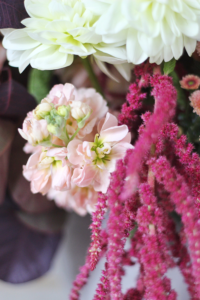 An Introduction to Autumn Flowers | Autumn Arrangement with Stock // JustineCelina.com x Rebecca Dawn Design
