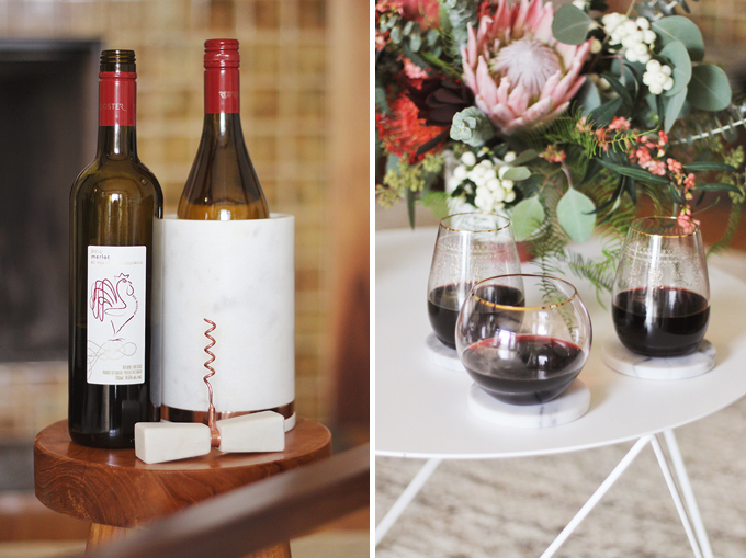 A Cozy Girls Night In | Red Rooster Merlot & Pinot Gris // JustineCelina.com