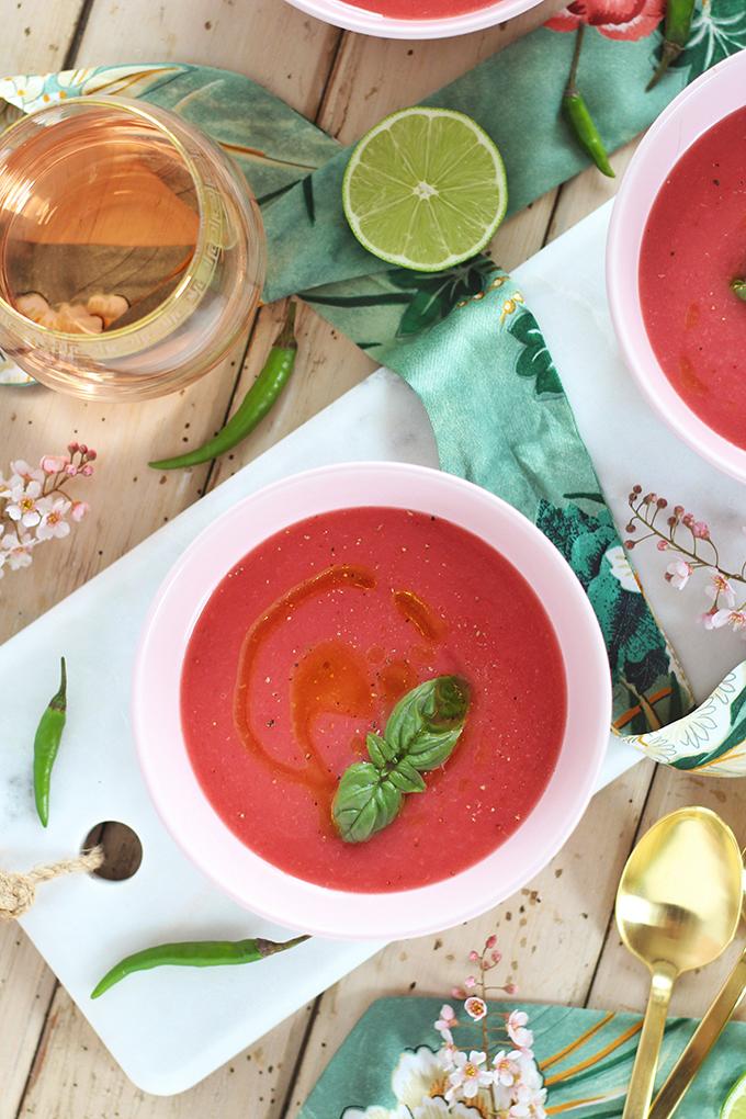 Spiced Strawberry Watermelon Gazpacho Ingredients // JustineCelina.com