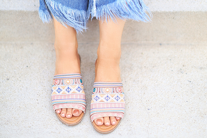 SUMMER 2017 MEGA SHOE GUIDE | 30 PAIRS! | Kamala Beige Embroidered Slide Sandals // JustineCelina.com