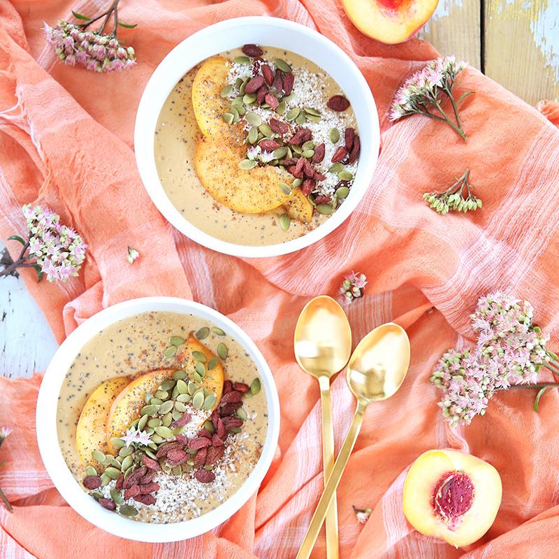 Superfood Peach Pie Smoothie Bowls // JustineCelina.com