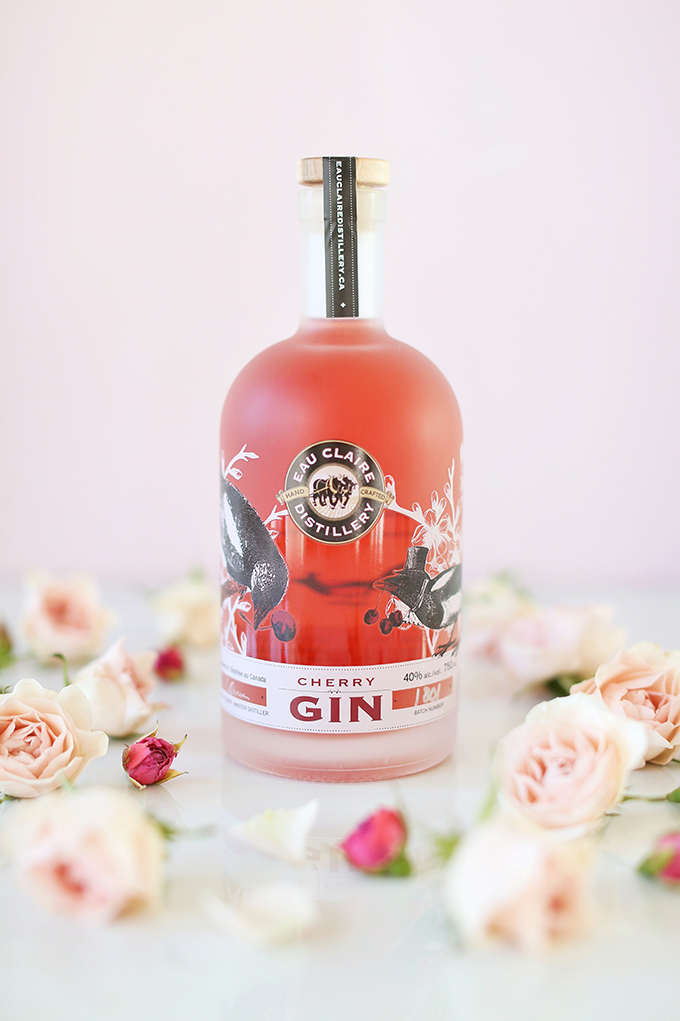 Rose Infused Cherry Gin Fizz | Featuring an Eau Claire Distillery Artisanal Cherry Gin GIVEAWAY | Calgary, Alberta Lifestyle + Food Blogger // JustineCelina.com