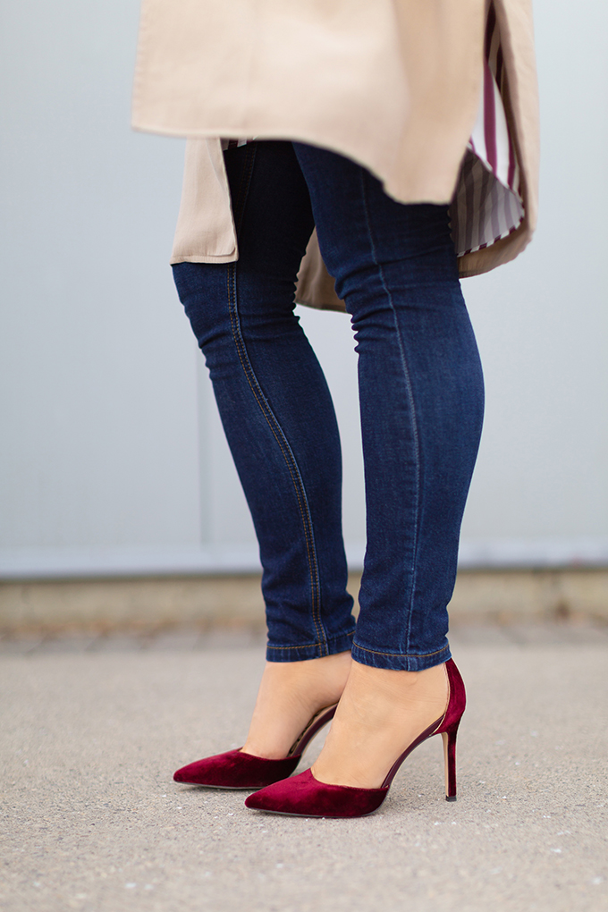 How to Style Transitional Layers   Winter to Spring 2018 Transitional Style Ideas for Cooler Climates   Sam Edelman Harlow Velvet Pump   Calgary, Alberta Fashion Blogger // JustineCelina.com