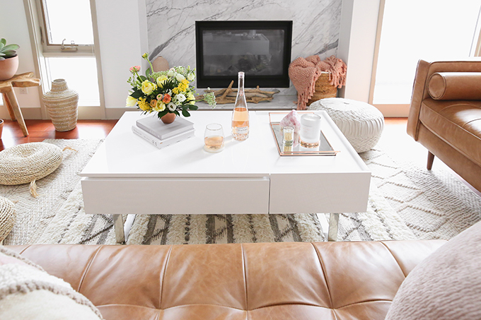 Our Living Room Furniture + $250 Structube #Giveaway | Structube EVO Storage Coffee Table in White | A Bohemian, Mid Century Modern Apartment in Calgary, Alberta, Canada | Justine Celina Maguire Living Room // JustineCelina.com