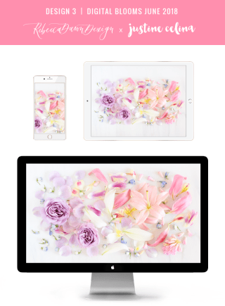 Digital Blooms June 2018 | Free Pantone Inspired Desktop Wallpapers for Spring and Summer | Free Pastel Tech Wallpapers | Design 3 // JustineCelina.com x Rebecca Dawn Design