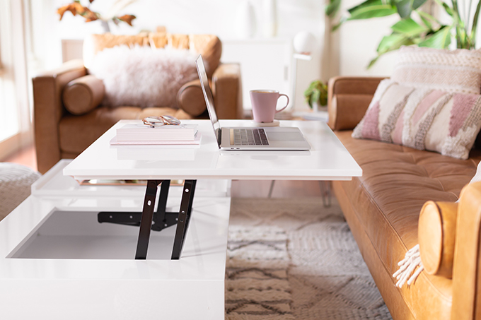 2018 Review + 2019 Goals | Calgary Lifestyle Blogger | 2019 Planning and Goal Setting | Entrepreneur Working from Home | MacBook Pro Laptop |  Nespresso Coffee on a White Coffee Table | Structure EVO Coffee Table in White | Bonlook Lauren Blue Light Blocking Glasses In Peach // JustineCelina.com