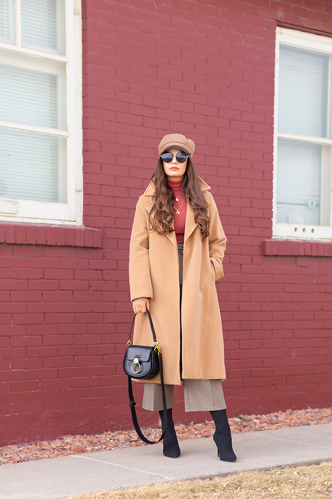 TRANSITIONAL STYLE STAPLES | WINTER TO SPRING 2019: My Go-To Polished Outfit for Transitional Weather | Aritzia Babaton Robbie Wool Coat Long styled with a Pantone Living Coral Turtle Neck, a Tweed and Leather TopShop Baker Boy Hat, Checked Culottes, Black Sock Boots, Artisan Anything Lara Leather Crossbody In Black (Amazing Chloe Tess Dupe!)| Stylish Winter / Spring Transitional 2019 Outfit Ideas | Calgary, Alberta Fashion Blogger // JustineCelina.com