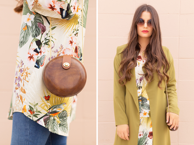 SPRING/SUMMER 2019 LOOKBOOK | Tropical Trench: How to Style a Flowy, Olive Green Trench Coat for Spring | Trench Coat Outfit Ideas Spring 2019 | Rainy Day Spring Outfits | Brunette woman wearing a Flowy Olive Green Trench Coat, mid wash skinny jeans, brown Aldo Traycey pumps and a Zara circular wooden bag | How to Wear Pantone's Pepper Stem for SS19 | Top Spring/Summer 2019 Trends and how to wear them | Calgary Fashion & Lifestyle Blogger // JustineCelina.com