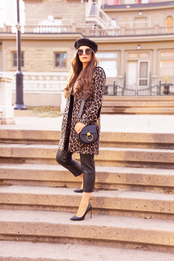 Autumn 2019 Lookbook: Leopard & Leather   Top Fall / Winter 2019 Trends   Top Autumn 2019 Trends and How to Wear Them    Brunette woman wearing H&M vegan leather trousers with a leopard print coat, black beret, black leather pointed toe pumps and a black Chloe Tess   Chic Fall / Winter 2019 Outfits   How to Style Leopard Print for 2019 / 2020   How to Style Faux Leather Pants   How to Wear a Beret   Top Calgary Fashion & Creative Lifestyle Blogger // JustineCelina.com