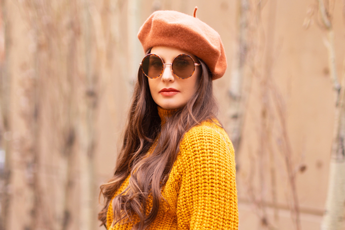 Autumn 2019 Lookbook: Pumpkin Spice   Top Fall / Winter 2019 Trends   Top Autumn 2019 Trends and How to Wear Them   Brunette woman wearing an orange coat with an H&M faux leather skirt, chunky mustard sweater, beret, rust suede boots and a croc embossed bag   Chic Fall / Winter 2019 Outfits   How to Wear the Pantone AW19/20 Fashion Colour Trend Report   How to Style a Faux Leather Skirt   How to Wear a Beret   Orange Monochromatic Outfit    Top Calgary Fashion Blogger // JustineCelina.com