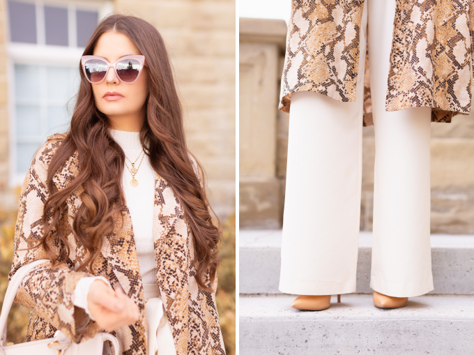 Autumn 2019 Lookbook: Snakeskin Chinook   Top Fall / Winter 2019 Trends   Top Autumn 2019 Trends and How to Wear Them   Brunette woman wearing a snakeskin trench coat with cream paperboy wide leg pants, a cream ribbed turtleneck, an oversized cream tote bag and cream cat eye sunglasses   Professional Fall / Winter 2019 Outfit Ideas   How to Style Snakeskin for the Office   What to Wear during a Chinook   Top Calgary Fashion & Creative Lifestyle Blogger // JustineCelina.com