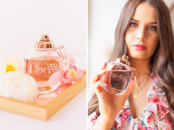 My Favourite Floral Fragrances | The Best Floral Fragrances for Spring | Floral Fragrances 2020 | The Best Luxury Floral Fragrances | Designer Floral Fragrances 2020 | Classic Floral Perfumes | Best Floral Perfumes of all Time | Best Fruity Perfumes | Citrus Floral Perfumes | Coach Floral Eau de Parfum Photos and Review | Brunette woman holding a bottle of Coach Floral Eau de Parfum wearing pink lipstick and a spring floral dress | Calgary, Alberta Beauty & Lifestyle Blogger // JustineCelina.com