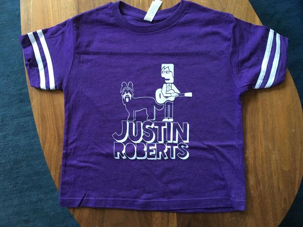 children's purple football jerseys with Justin Roberts and his dog Mona printed in white