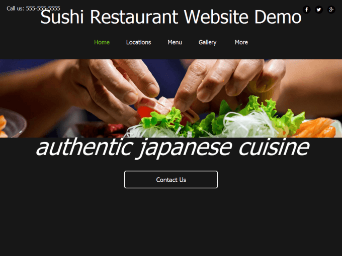 Sushi Restaurant Website Demo