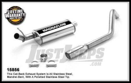 magnaflow performance stainless steel cat back exhaust system for 1996 00 jeep cherokee xj with 2 5l or 4 0l 15856