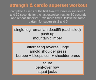 strength and cardio superset workout